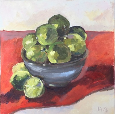 Title: Limes on Red Cloth , Size: 12x12 , Medium: Oil on Canvas , Price: $350