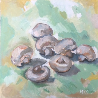 Title: Mushrooms on Green , Size: 12x12 , Medium: Oil on Canvas , Price: $350