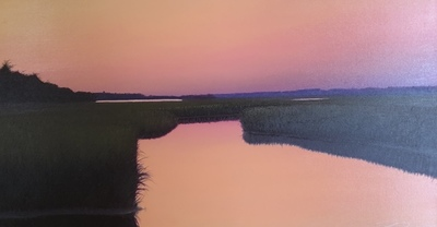 Title: Rosey Dusk , Size: 24x46 , Medium: Oil on Canvas , Price: $2,300