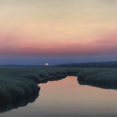 Title: Marsh Perfections at Sunset , Size: 48x48 , Medium: Oil on Board , Price: $4,500