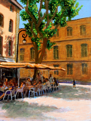 Title: Café Portugese , Size: 16x12 , Medium: Oil on Linen , Price: $575