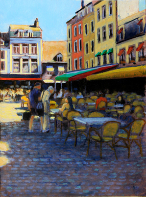 Title: French Food Court , Size: 16x12 , Medium: Oil on Linen , Price: $575
