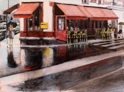 Title: Pluie A Café , Size: 12x16 , Medium: Oil on Linen , Price: $575