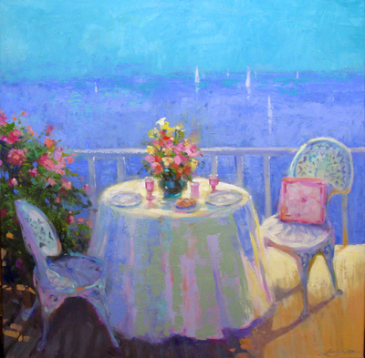 Title: Lunch With a View , Size: 24x24 , Medium: Oil on Canvas , Price: $1,600