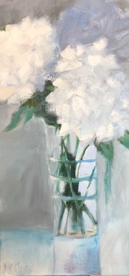 Nancy McClure - Aqua and White