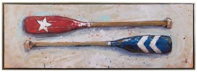 Title: Red & Blue Oars , Size: 24x72 , Medium: Acrylic on Canvas , Price: $4,800