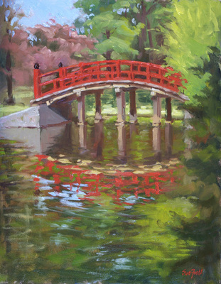 Title: Japanese Gardens , Size: 14x11 , Medium: Oil on Canvas , Price: $825