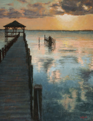 Title: Outer Banks Sunset , Size: 9x12 , Medium: Oil on Canvas , Price: $675