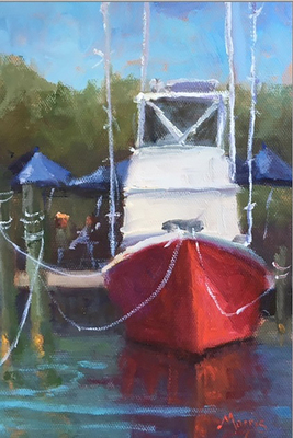 Title: Red Boat , Size: 8x6 , Medium: Oil on Linen Board , Price: $375