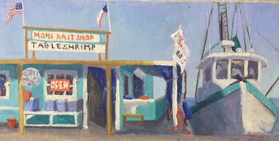 Title: Mom's Bait Shop , Size: 8x16 , Medium: Oil on Linen Board , Price: $695