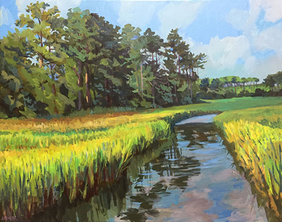 Title: Summer Marsh Highway 101 , Size: 24x30 , Medium: Acrylic on Canvas , Price: $1,080