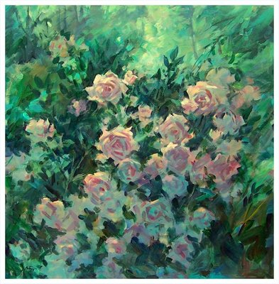 Title: Roses at Dusk , Size: 36x36 , Medium: Oil on Canvas , Price: $3,000