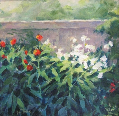 Title: Garden Wall , Size: 8x8 , Medium: Oil on Canvas , Price: $325