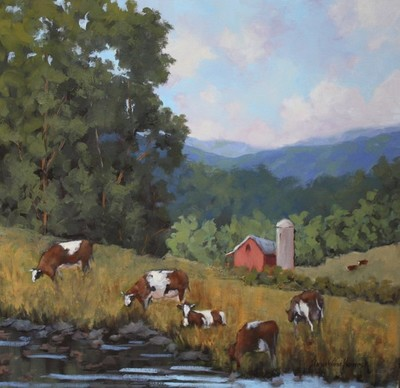 Title: Grazing Cows , Size: 20x20 , Medium: Oil on Canvas , Price: $1,525