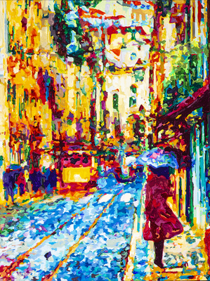 Title: Heading for the Crosswalk , Size: 40x30 , Medium: Acrylic on Canvas , Price: $2,700
