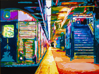 Title: Last Stop on the C Line , Size: 36x48 , Medium: Acrylic on Canvas , Price: $2,900