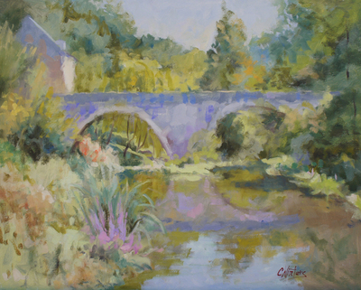 Title: Bridge Over Clear Water , Size: 24x30 , Medium: Oil on Canvas , Price: $3,800