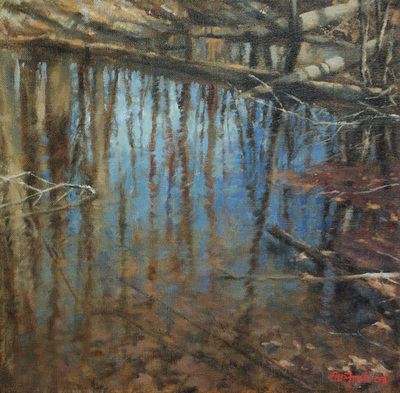 Title: Woodland Reflections , Size: 12x12 , Medium: Oil on Canvas , Price: $475