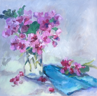 Title: Hot Pink Geraniums , Size: 12x12 , Medium: Oil on Canvas , Price: $325