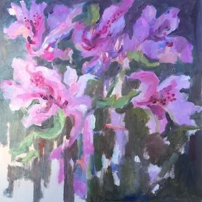 Title: Azaleas Let Loose , Size: 12x12 , Medium: Oil on Canvas , Price: $325