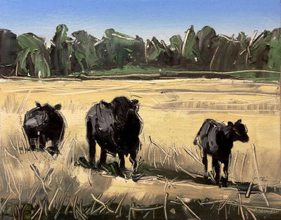 Title: Grazing Cows , Size: 8x10 , Medium: Oil on Board , Price: $375