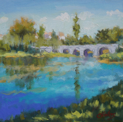 Title: Bridge in Bourdeilles , Size: 12x12 , Medium: Oil on Canvas , Price: $600