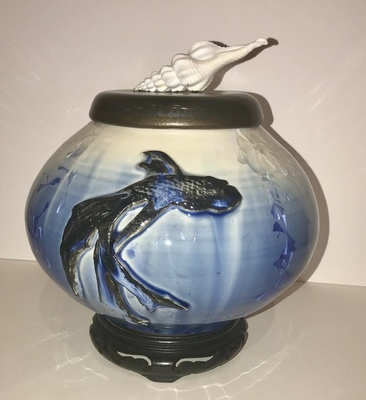 Title: Cobalt & White Beta Fish Vase with carved Mahogany , Medium: Crystalline Pottery , Price: $275