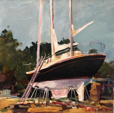 Title: Oriental Boatyard , Size: 12x12 , Medium: Oil on Canvas , Price: $400