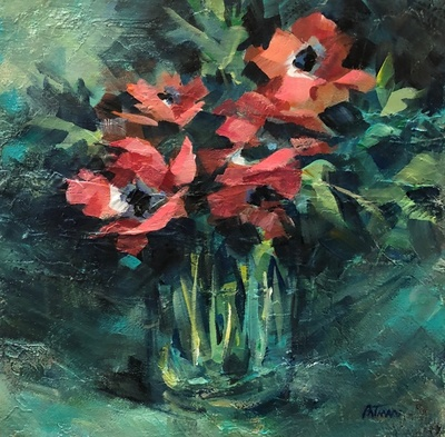 Title: Anemone , Size: 12x12 , Medium: Oil on Canvas , Price: $350