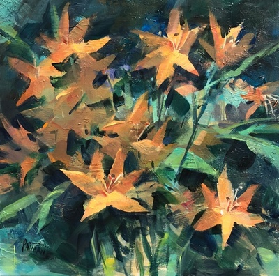 Title: Lilies , Size: 12x12 , Medium: Oil on Canvas , Price: $350