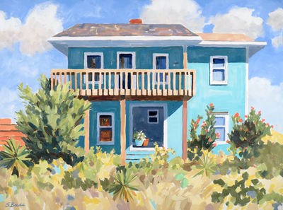 Title: Turquoise Beach House IV , Size: 30x40 , Medium: Oil on Canvas , Price: $2,200