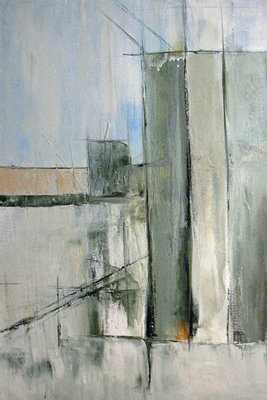 Title: Silos , Size: 36x24 , Medium: Oil and Encaustic on Linen , Price: $1,900