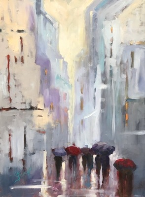 Title: Rainy Day People , Size: 48x36 , Medium: Oil on Canvas , Price: $5,000