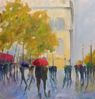 Gina Strumpf - Champs Elysees - Oil on Canvas - 30x30
