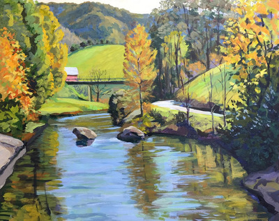 Title: Watauga River Fall View , Size: 24x30 , Medium: Acrylic on Canvas , Price: $1,100
