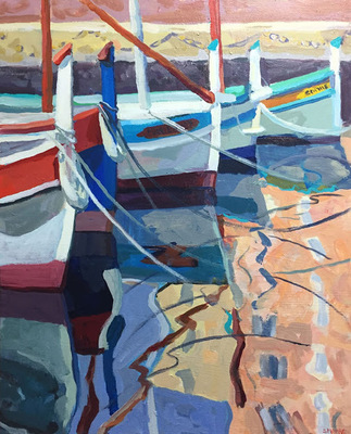 Title: Cassis Reflections , Size: 24x30 , Medium: Acrylic on Canvas , Price: $1,100