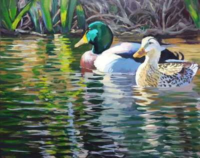 Title: PKS Drake and Hen , Size: 24x30 , Medium: Acrylic on Canvas , Price: $1,100