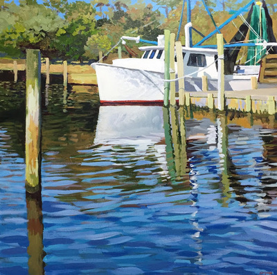 Title: Atlantic Harbor Trawler , Size: 30x30 , Medium: Acrylic on Canvas , Price: $1,350