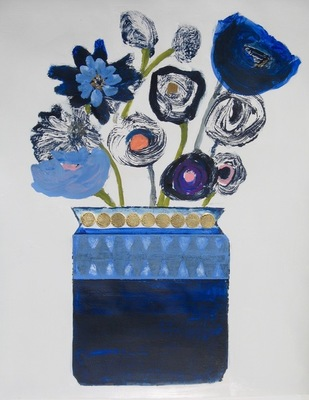 Charlotte Foust - Cornflower Blue - Mixed Media on Paper - 24x19