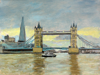 Title: Tower Bridge , Size: 12x16 , Medium: Oil on Linen Board , Price: $600