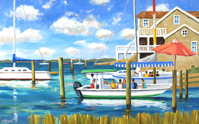 Title: The Island Ferry & the Beaufort Harbor , Size: 30x48 , Medium: Oil on Canvas , Price: $2,600