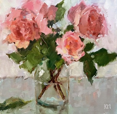 Title: Garden Roses , Size: 12x12 , Medium: Oil on Canvas , Price: $950