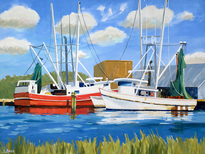 Title: Red & White Shrimp Boats Along Gallents Channel , Size: 36x48 , Medium: Oil on Canvas , Price: $3,300