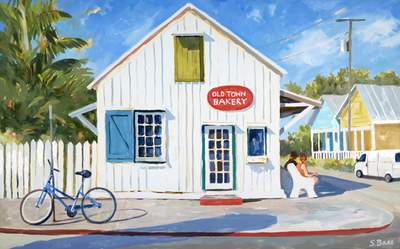 Title: The Old Town Bakery , Size: 30x48 , Medium: Oil on Canvas , Price: $2,700