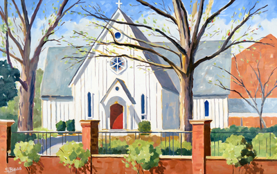Title: Saint Mary's Chapel, Raleigh , Size: 30x48 , Medium: Oil on Canvas , Price: $2,700