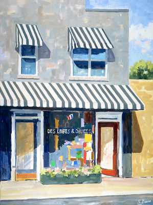 Title: DesLivres & Delices, Five Points, Raleigh , Size: 40x30 , Medium: Oil on Canvas , Price: $2,500