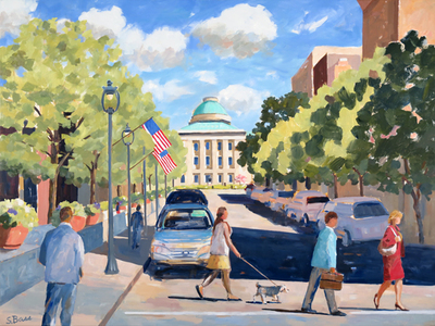 Title: Early Morning, Fayetteville St. Mall, Raleigh , Size: 36x48 , Medium: Oil on Canvas , Price: $3,500