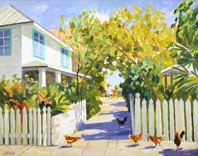 Title: A Walk Down the Alley in Key West , Size: 36x48 , Medium: Oil on Canvas , Price: $3,300