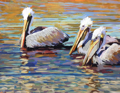 Title: Pelican Party , Size: 24x30 , Medium: Acrylic on Canvas , Price: $1,080