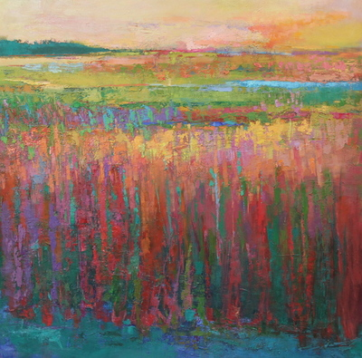 Title: Reeds of the Setting Sun , Size: 40x40 , Medium: Oil on Canvas , Price: $4,250